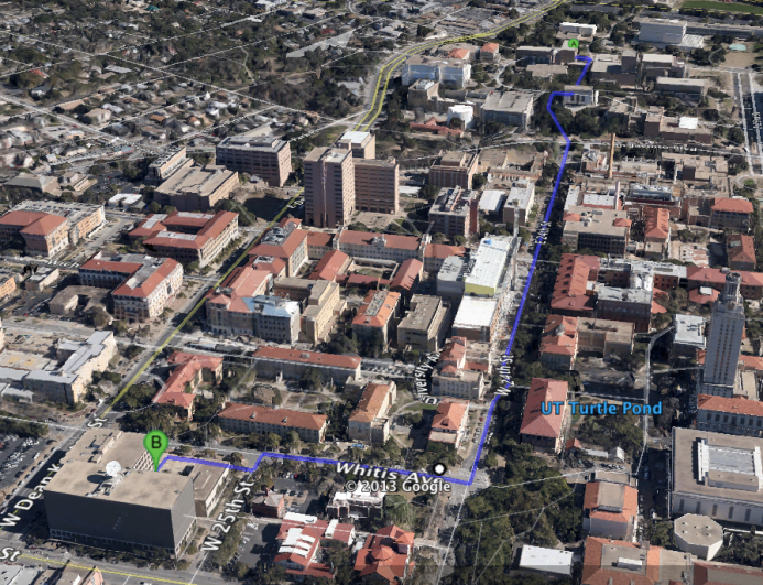 Aerial view of the soundwalk route.